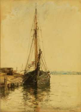 Bertha Everfield Perrie, watercolor painting of a sailing ship