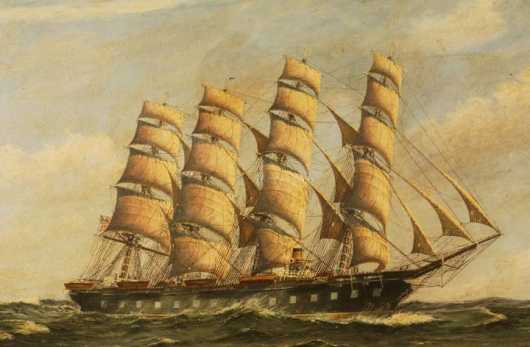 Frantz Landt, oil on canvas of a 4 masted US Clipper