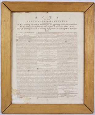 1792 New Hampshire  Election Broadside
