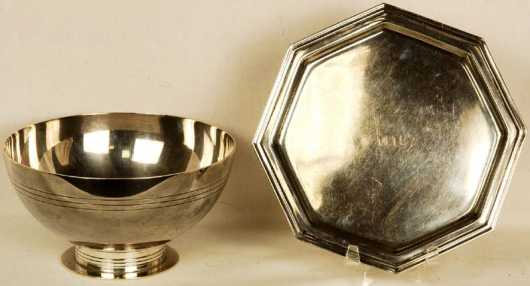 Tiffany and Co. Maker, sterling footed bowl and an octagonal plate