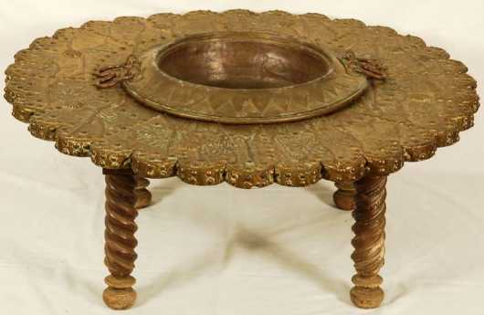 Hammered Bronze Brazier Table
