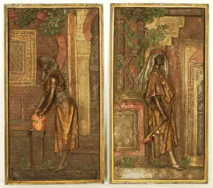 Pair Of Cold Painted Bronze Relief Plaques