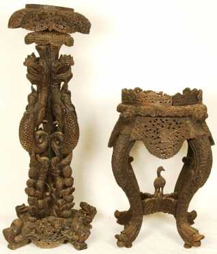Two Intricately Carved Stands