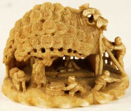 Ivory Katabori Netsuke of a 3 dimensional house