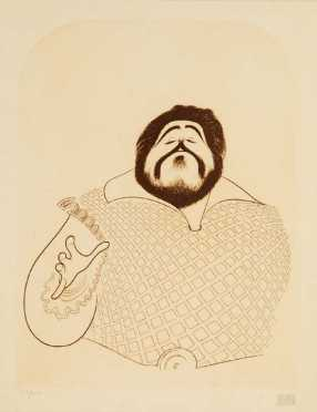 Albert Hirschfield, limited edition print caricature of Pavarotti