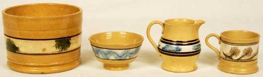 Mocha Yellow-ware, 4 pieces