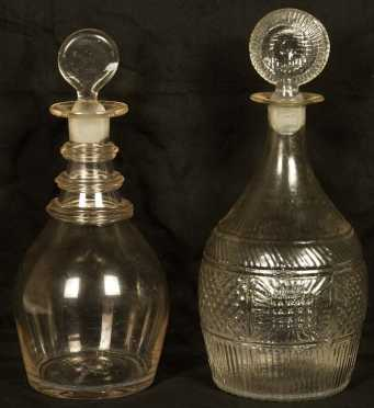 Two Clear Glass Decanters