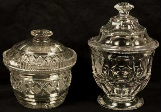 Two Clear Glass Covered Sugar Bowls