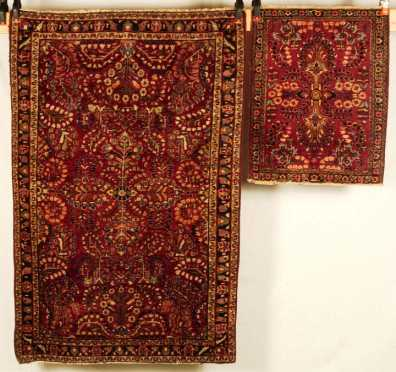Two Sarouk Scatter Oriental rugs