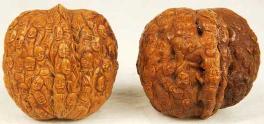 Two Chinese Walnut Shell Carvings