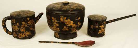Four Japanese Lacquer Tea and Rice Servers