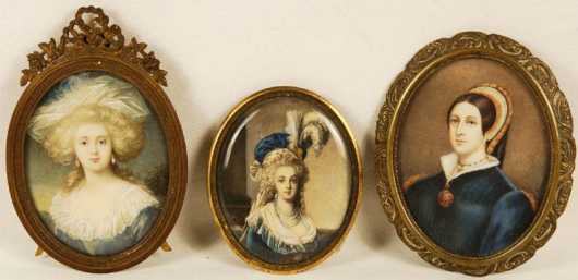 Three Miniature Portraits On Ivory