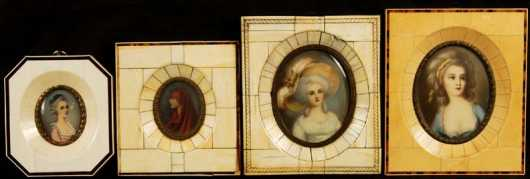 Lot Of Four Miniature Portraits On Ivory