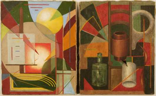 Cliff Brandt,  2 cubist style paintings,