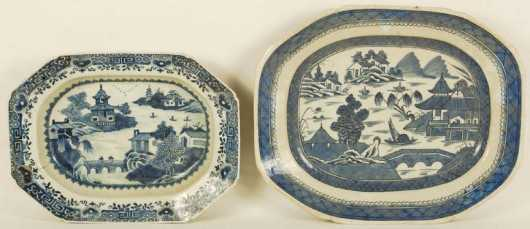 Two Oriental Ceramic Serving Plates