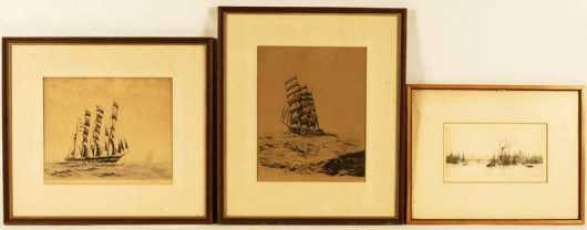Frederick Owen,  2 etchings of tall ships