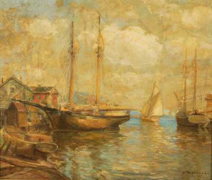 Oil On Canvas of Sail Boats in a New England harbor, illegibly signed