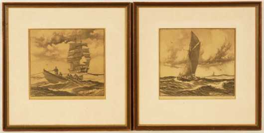 Pair of framed etchings by Gordon Grant