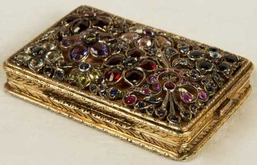 Continental Gold and Jeweled Powder Compact