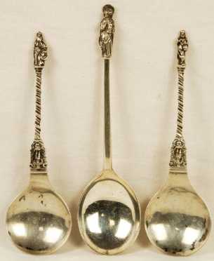 Lot of Three Silver Apostle's Spoons