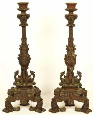 Pair of Ornate Bronze Candlesticks