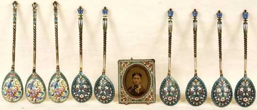 Russian Dessert Spoons and Miniature Frame