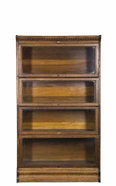 Four Section Stacking Oak Bookcase