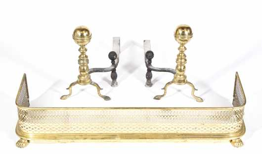 19thC Brass Fender and L/R Ball Top Andirons