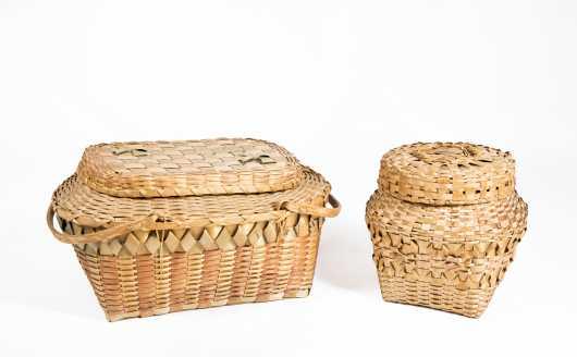 "Two Native American ""Micmac"" Splint Baskets"