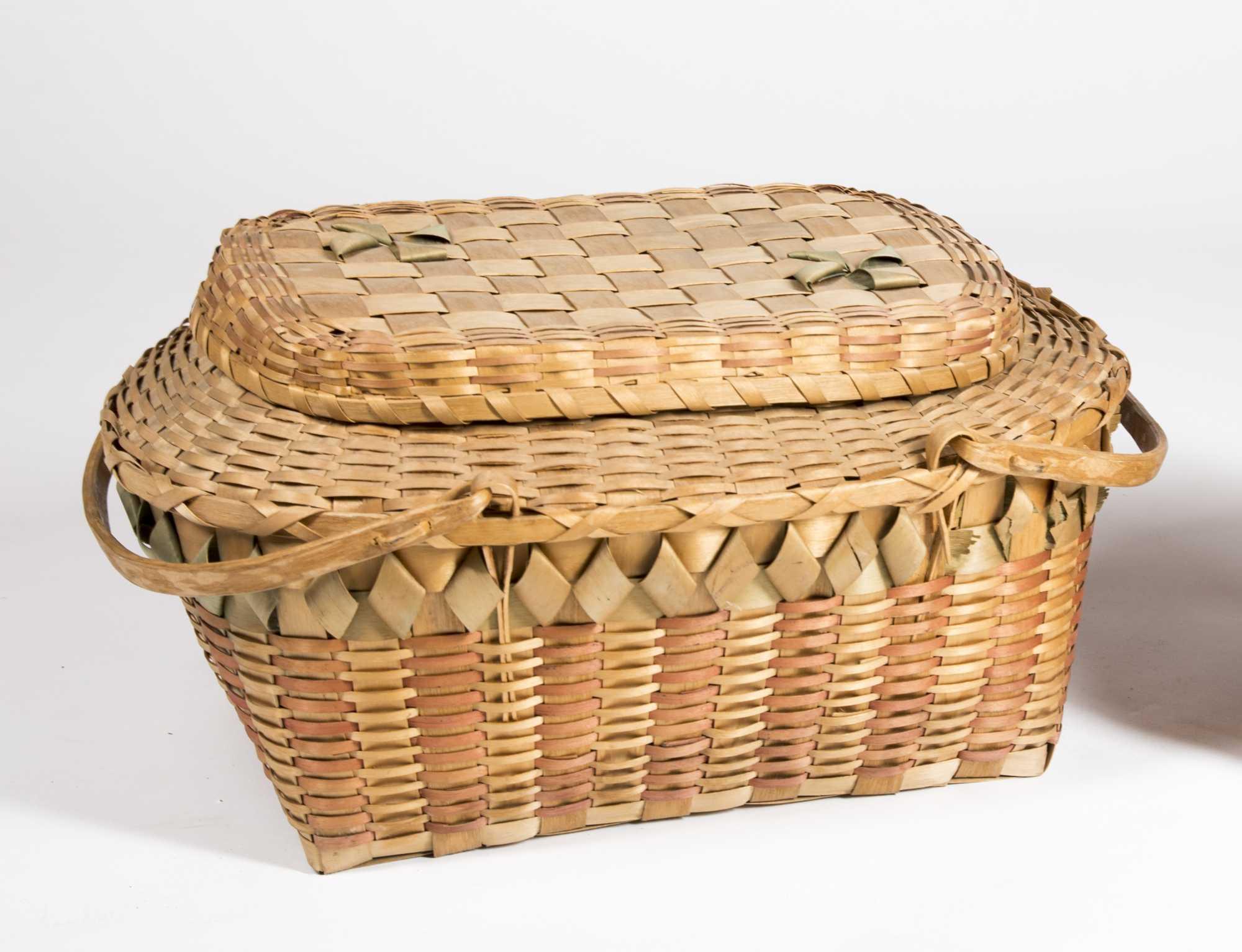 Two Native American Quot Micmac Quot Splint Baskets