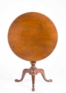 Mahogany Tip and Turn Style Round Tea Table