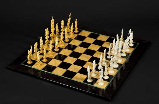 Chinese Export Carved Ivory Chess Set