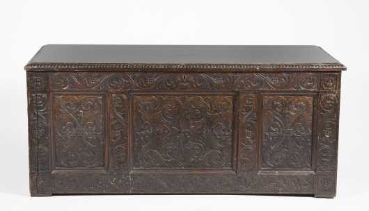 English 17thC Style Carved Oak Chest