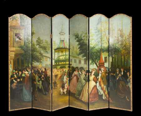 Painted Six Part Standing Screen