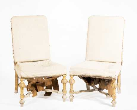 Pair of of Dutch 17thC style upholstered side chairs