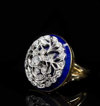 14kt. Yellow and White Gold with Blue Enamel and Diamond Ring