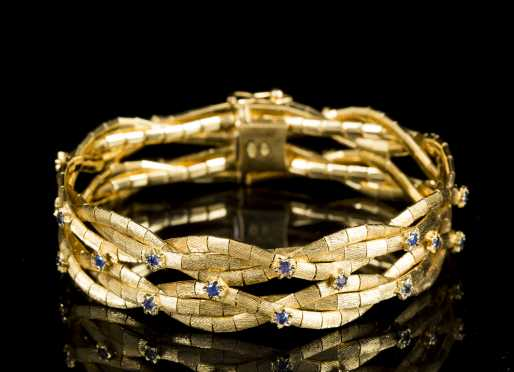 18kt. Yellow Gold and Sapphire Bracelet