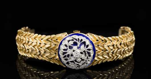 14kt. Yellow and White Gold with Blue Enamel and Diamond Wristwatch
