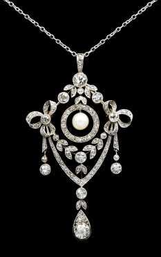 Diamond and Pearl Brooch/Pendant