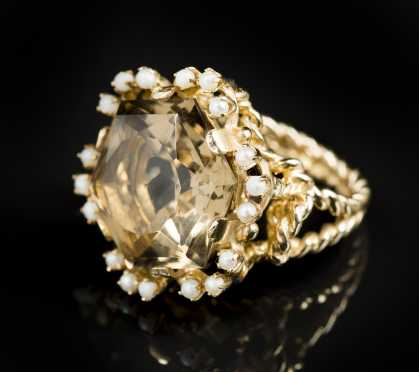 Smoky Topaz, Pearl and 14kt Ring
