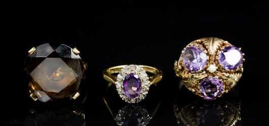 Lot of Three Gold and Semi-Precious Stone Rings