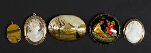 Lot of Five Brooches/Pendants