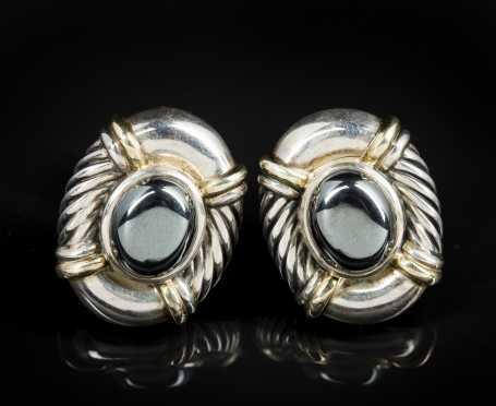 David Yurman Sterling, Gold and Hematite Earrings.
