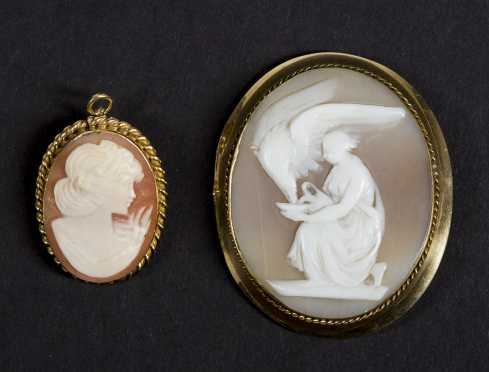 Lot of 2 Cameo Brooches