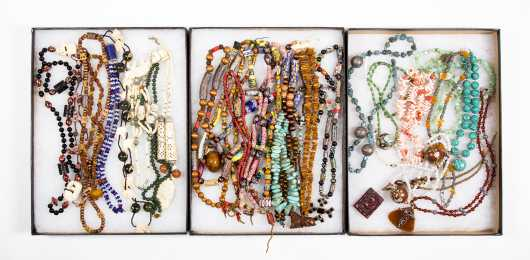 Three Trays of Necklaces and Beads