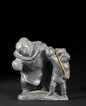 Inuit Carved Stone Mother and Child