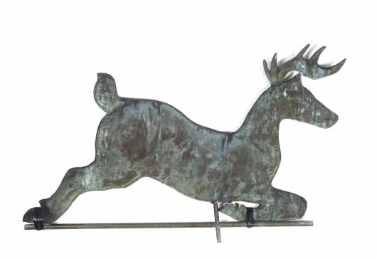 Leaping Copper Stag Deer Weathervane