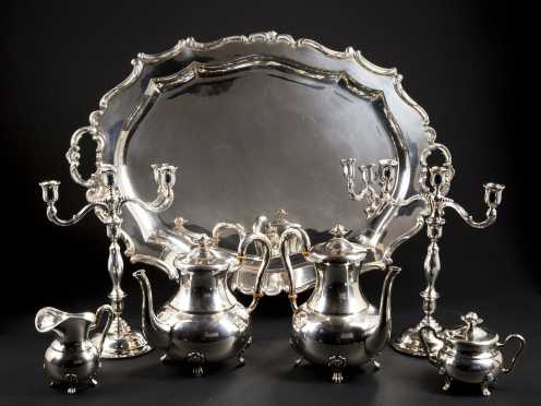 Sterling Silver Tea/Coffee Service and Matching Candelabra