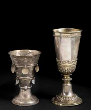 Two European Sterling/Coin Silver Toasting Chalices