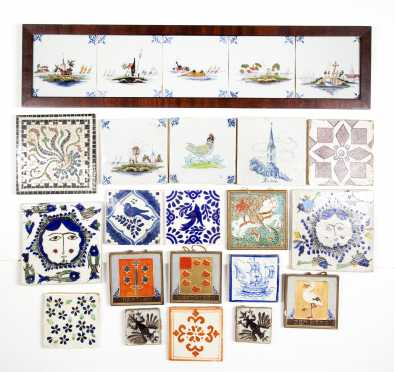 Lot of 25 Dutch Delft and Misc Tiles